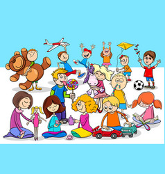 playful children cartoon characters group vector image