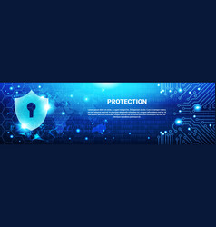 Protection shield blue polygons over circuit vector