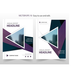 Purple triangle abstract annual report brochure vector