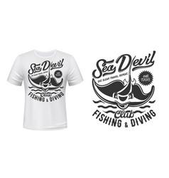 ray t-shirt print mockup fishing and diving club vector image