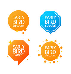 Realistic detailed 3d early bird label set vector