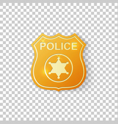realistic golden police badge isolated object vector image