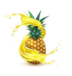 realistic pineapple juice splash slice vector image
