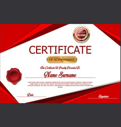 Red certificate or diploma template vector
