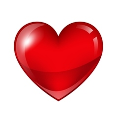 Red shiny realistic heart Happy Valentine day vector