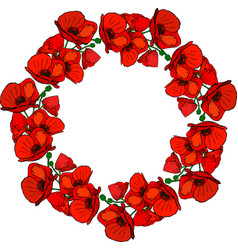 Round wreath of flowering red poppies and green vector
