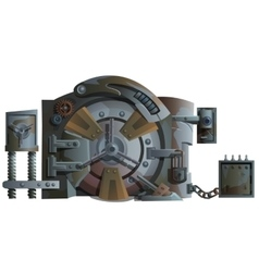 Rusty old Bank door with lots of locks isolated vector image