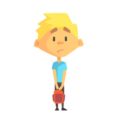Sad blond boy primary school kid elementary vector