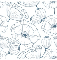 Seamless pattern with doodle poppies vector image