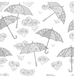 seamless pattern with umbrella in zentangle vector image