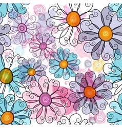 Seamless spring grunge spotty floral pattern vector image