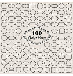 Set 100 blank vintage frame badges and labels vector