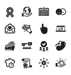 set business icons such as cooking timer vector image