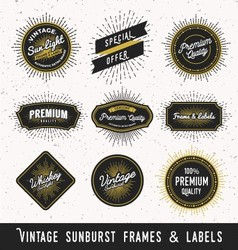 set frame and label with vintage sunburst vector image