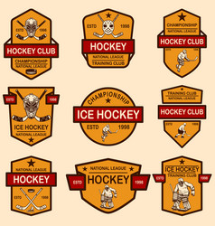 set hockey club emblems design element vector image