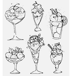 Set Ice cream - sketched isolated icecream on vector