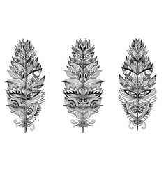 Set of hand drawn plumes vector