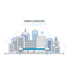 Set of modern cityscape city life streets vector