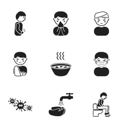 Sick set icons in black style Big collection of vector