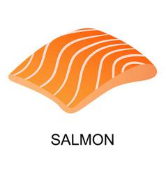 Slice of salmon icon isometric style vector