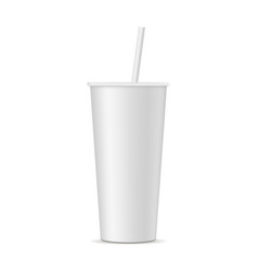 Soda cup with straw mockup isolated vector