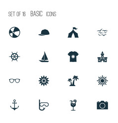 Summer icons set with sunglasses anchor palms vector
