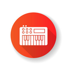 Synthesizer red flat design long shadow glyph icon vector