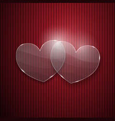 Two hearts from glass vector