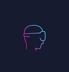 Vr man in virtual reality glasses icon logo vector