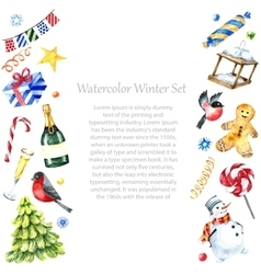 Watercolor winter frame design vector