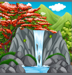 Waterfall in the wilderness vector