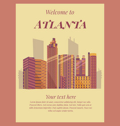 Welcome to atlanta poster vintage card vector