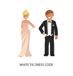 White tie dress code vector
