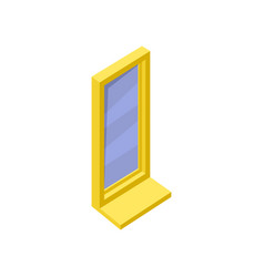 window with blue glass bright yellow frame and vector image