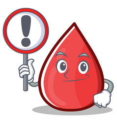 With sign blood drop cartoon mascot character vector