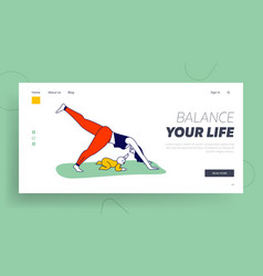 yoga class practice with child landing page vector image
