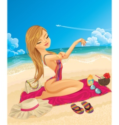 Young woman on vacation vector image