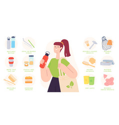 zero waste tips reduce plastic using vector image