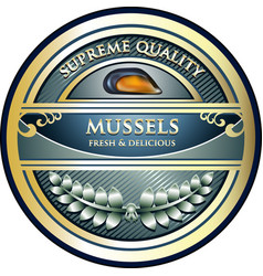 mussels gold label vector image vector image