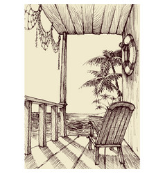 sea view from the porch of a beach house holiday vector image vector image