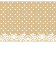 lace and ribbon on polka dot fabric vector image