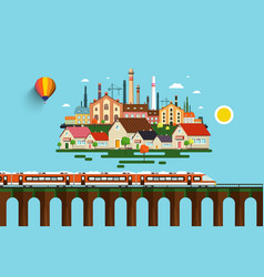 modern train on high bridge and abstract city on vector image vector image