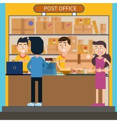 Post office woman receiving parcel postal service vector
