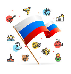 russia design template line icon concept and flag vector image vector image