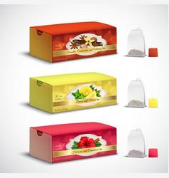 Tea bags packaging realistic set vector
