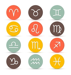 Zodiac Horoscope Circle Symbols in Retro Colors vector image vector image