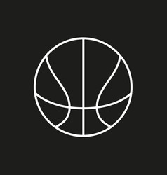 basketball ball outline in black background vector image vector image