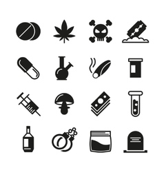 Drugs black icons set vector image vector image
