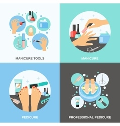 Manicure Pedicure 4 Flat Icons Square vector image vector image