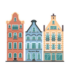 set of 3 amsterdam old houses cartoon facades vector image vector image